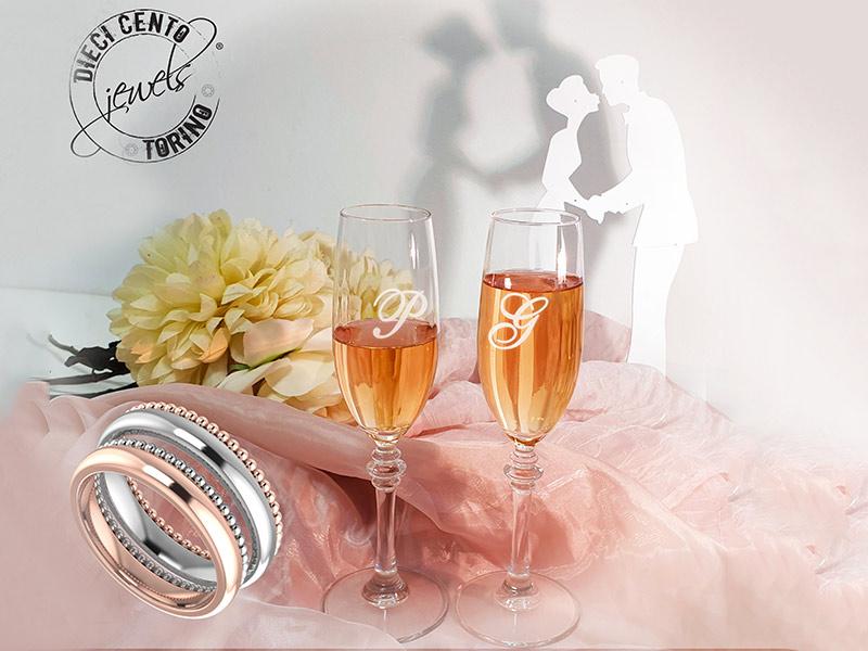A NOZZE DA SOGNO Diecicento Jewels offre un coupon per avere in regalo una coppia di calici in cristallo con le iniziali agli sposi